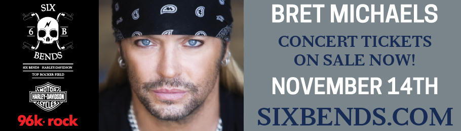 Billboard Design for six bends harley davidson - bret michaels